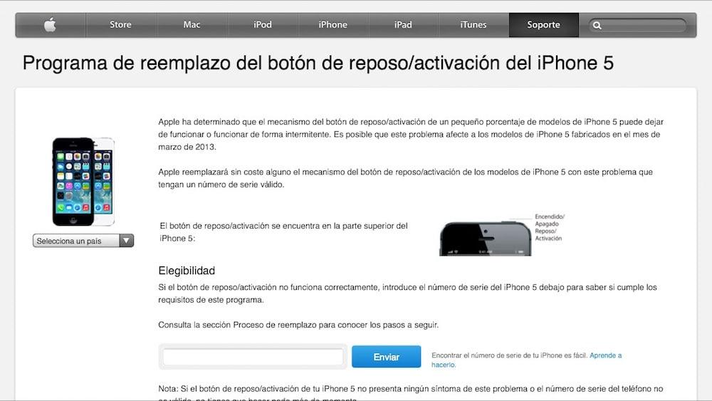 Programa sustitución botón encendido iPhone 5