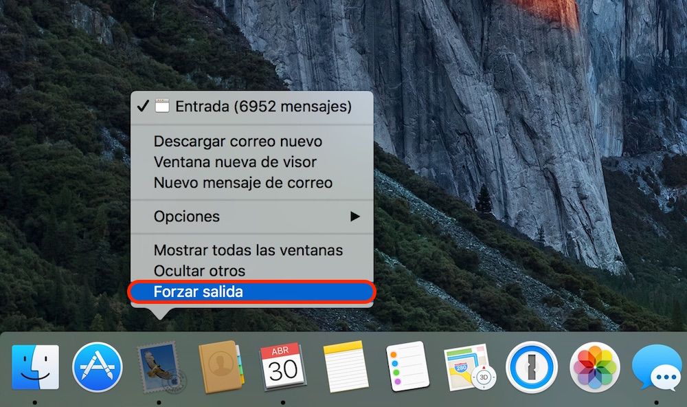Como forzar el cierre de una aplicación en OS X Dock