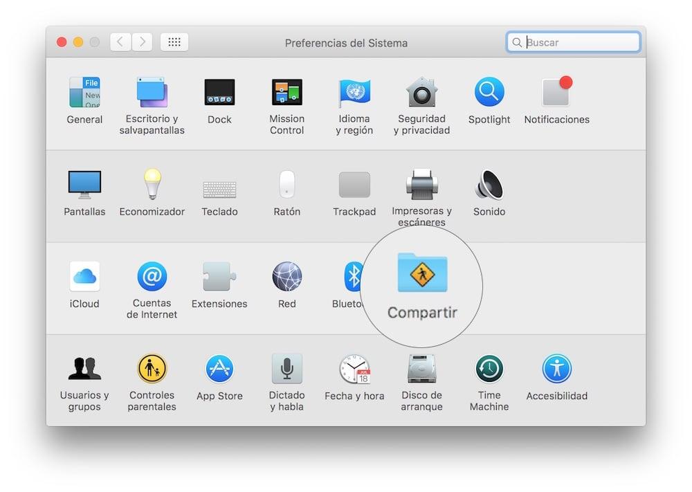 Mac OS X Preferencias Compartir