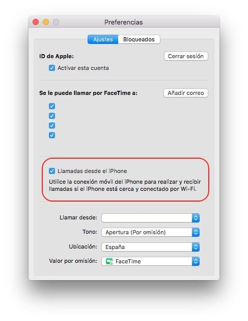 Handoff llamadas Mac OS X