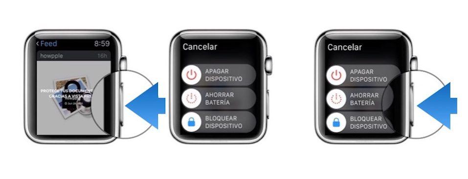 forzar el cierre en Apple Watch