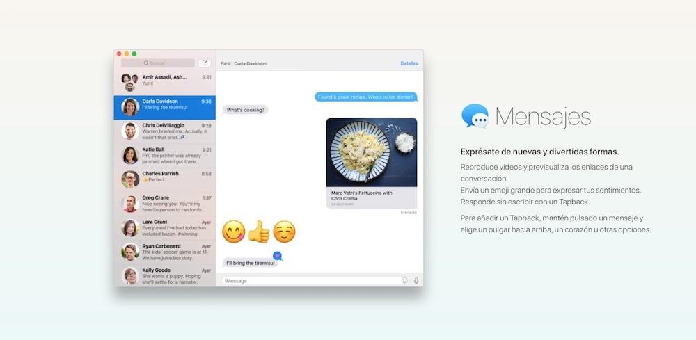macOS Sierra mensajes-howpple