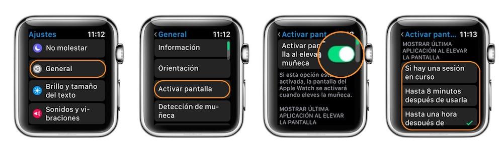 Ver ultima aplicación Apple Watch Ajustes-Howpple