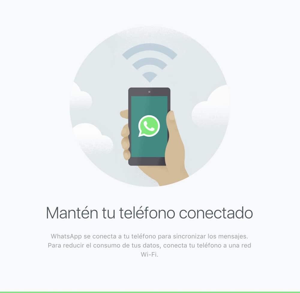 Mensaje de WhatsApp conectada al Mac
