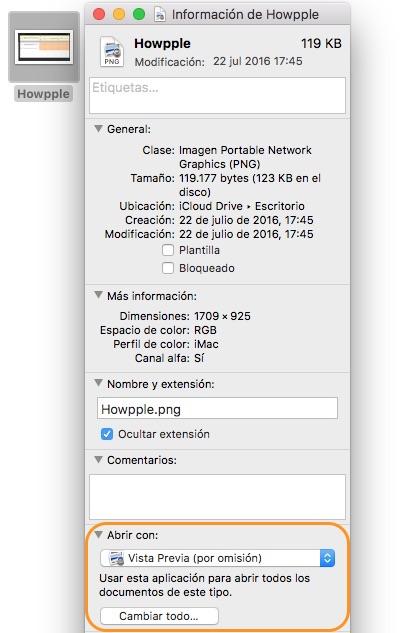 Como cambiar la aplicacion por defecto para abrir un archivo en Mac de todos los archivos
