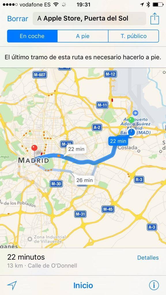 Mapas en iPhone de Mac