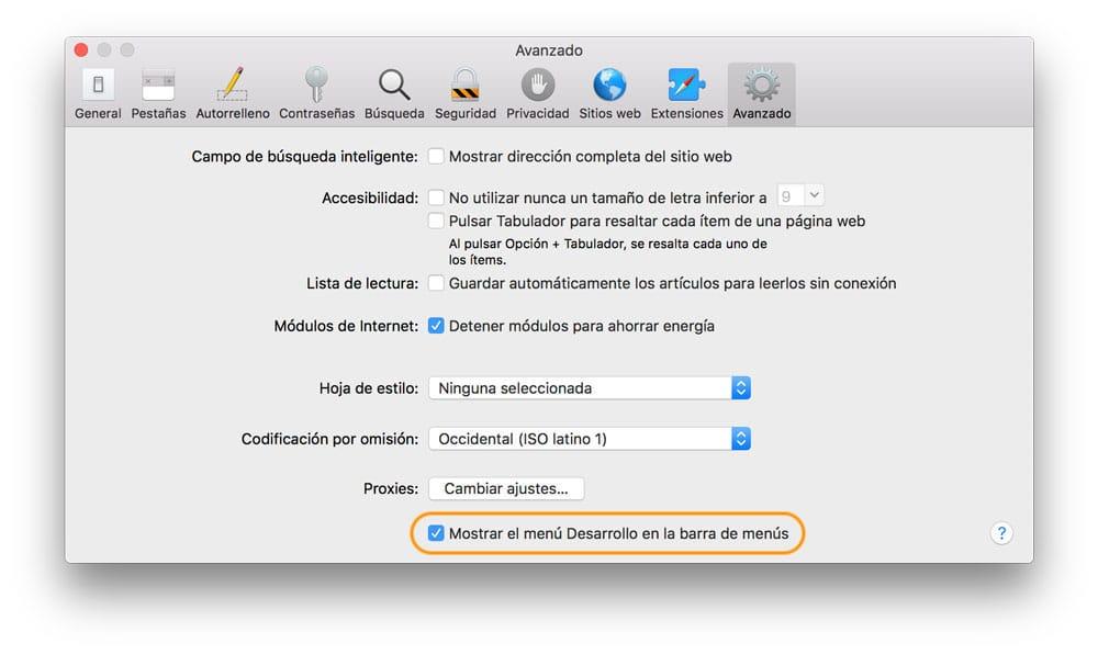 Manu avanzado de Safari para ver el código HTML en iPhone, iPad y Mac