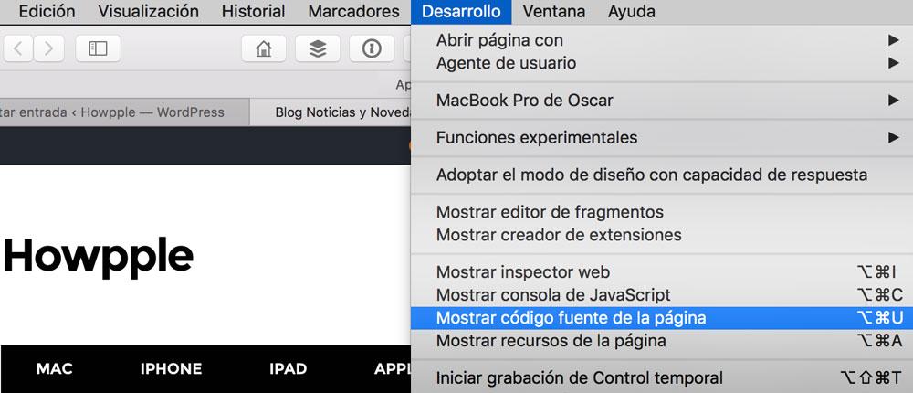 Menú desarrollo de Safari para ver el código HTML de una web