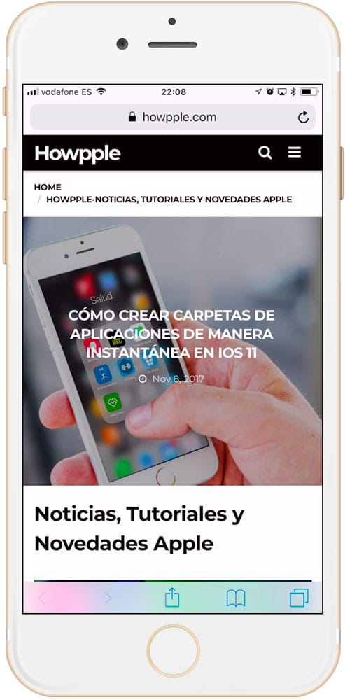 Howpple en safari para iPhone
