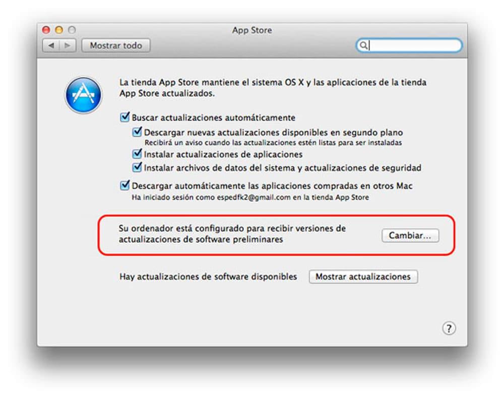 Cómo salir del programa de Betas en Mac OS X preferencias del App Store