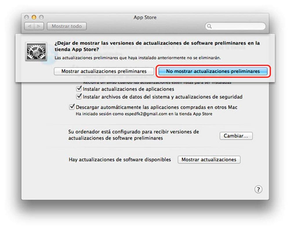 Eliminar Mac del programa de betas de Mac OS X