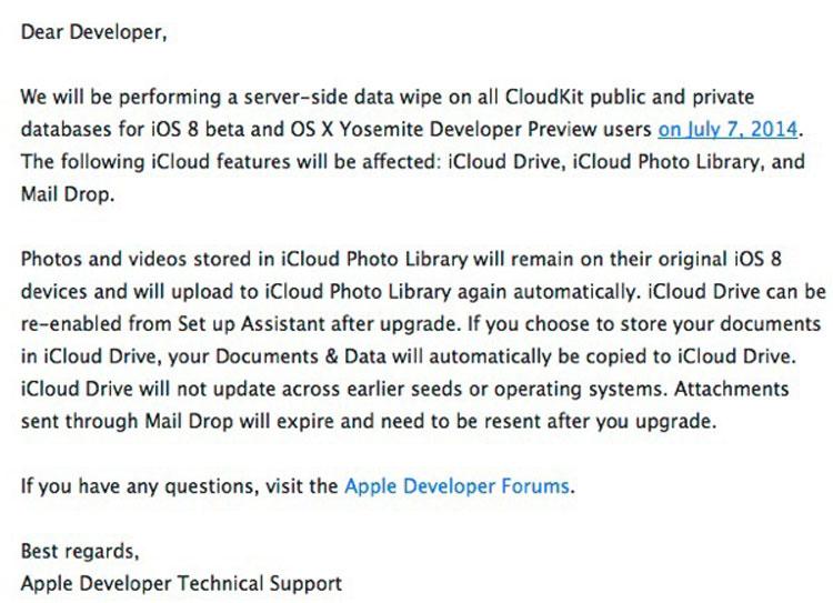 Comunicación de Apple sobre la mejora de CloudKit