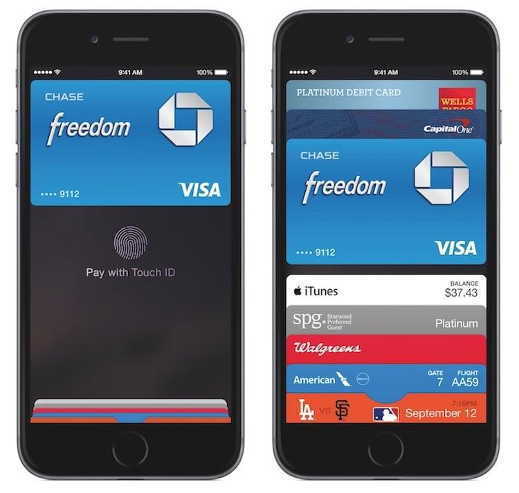 Aplicación de Apple Pay en un iPhone