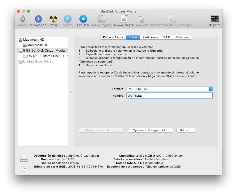 Aprende Como crear un USB con OS X o macOS para hacer una instalación limpia Utilidad de discos para formateo