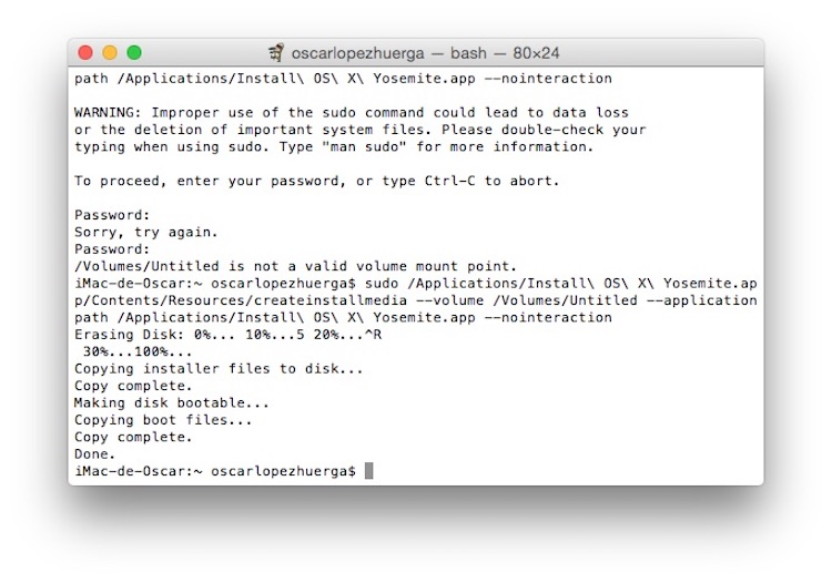 Proceso terminado de creación USB con OS X o macOS