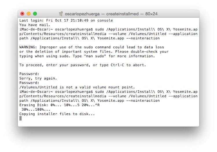 Proceso en Terminal para crear un USB con OS X o macOS
