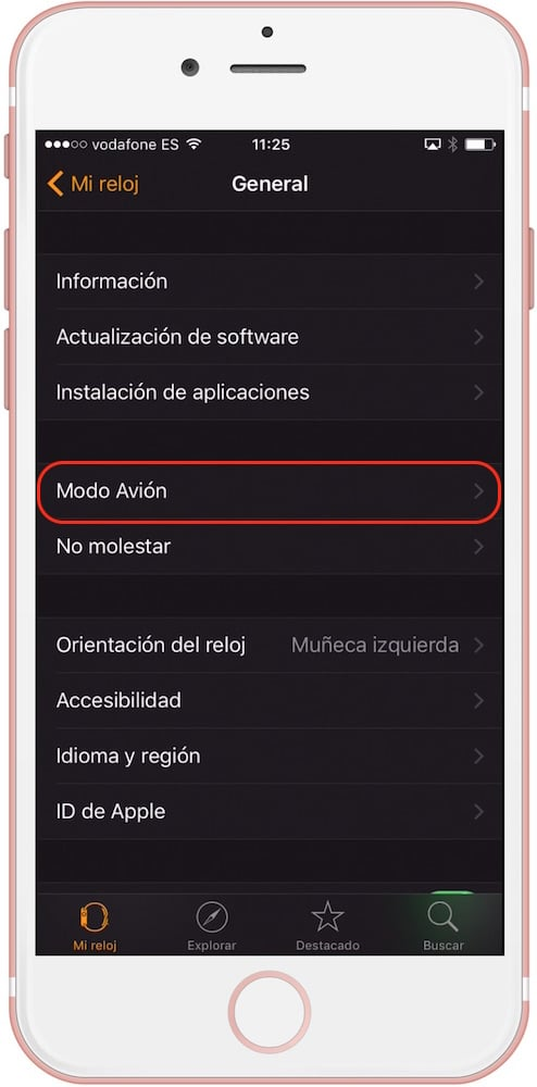Apple Watch opciones modo avion