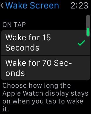 WatchOS 2 ajuste pantalla