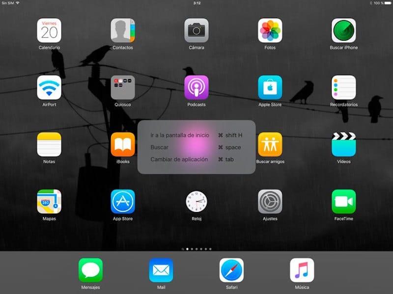 iPad Pro atajos de teclado