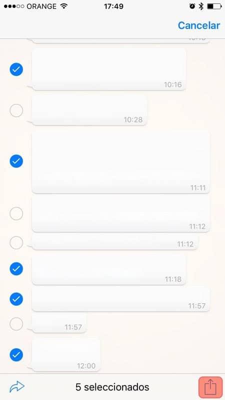 Seleccionar y compartir WhatsApp