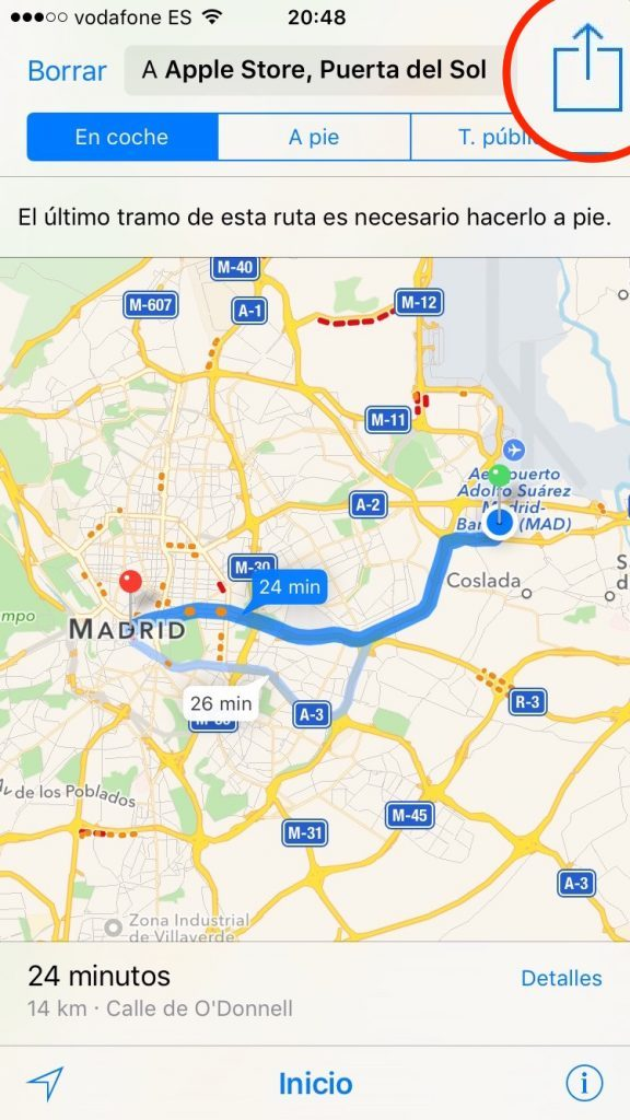 Boton compartir Ruta iPhone y Mac