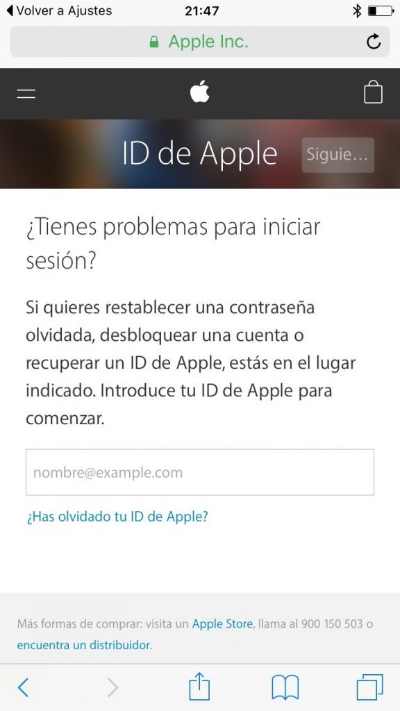 Web ID de Apple iOS