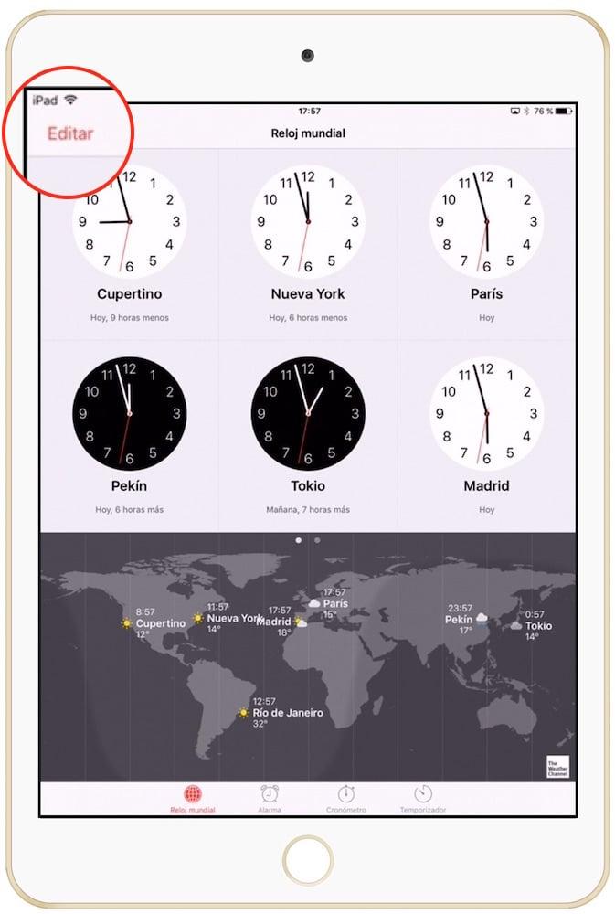 Como cambiar la temperatura en iPad > Reloj