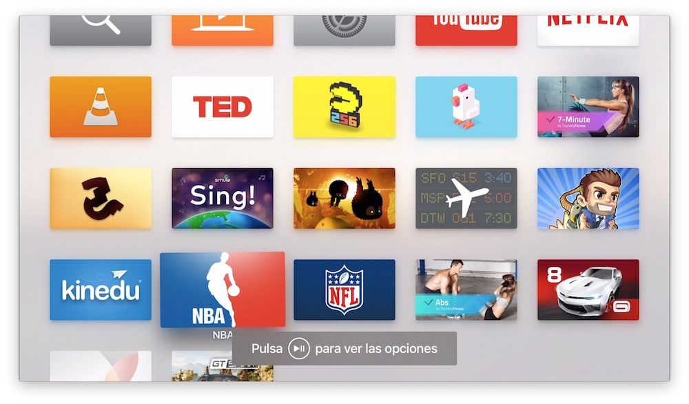 Crear carpetas en Apple TV Menú PLAY:PAUSE