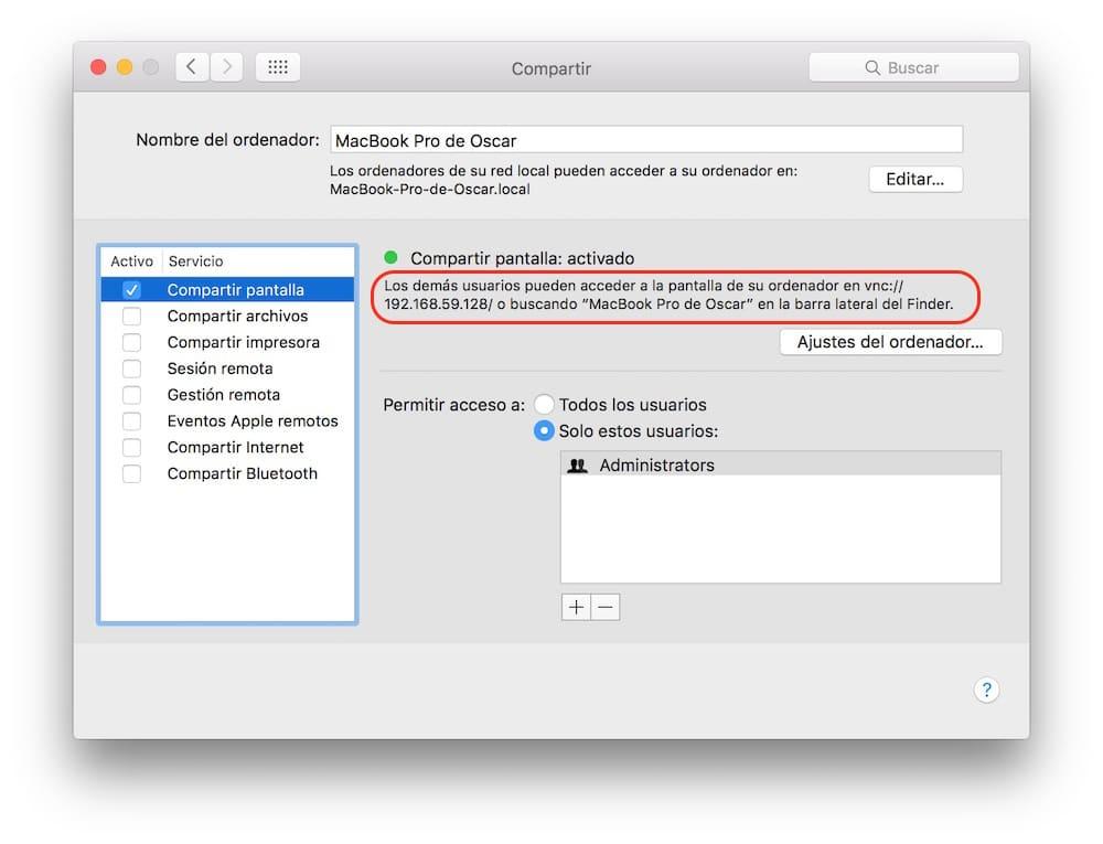 Como compartir pantalla en Mac OS X VNC