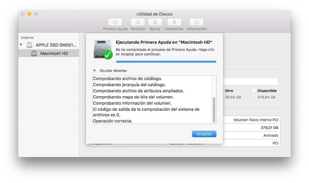 Como verificar y repara rpermisos en OS X Resultado