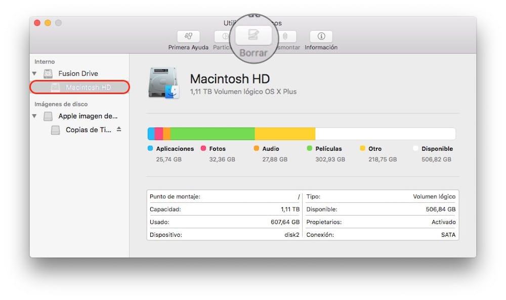 Restaurar Mac Utilidad de discos