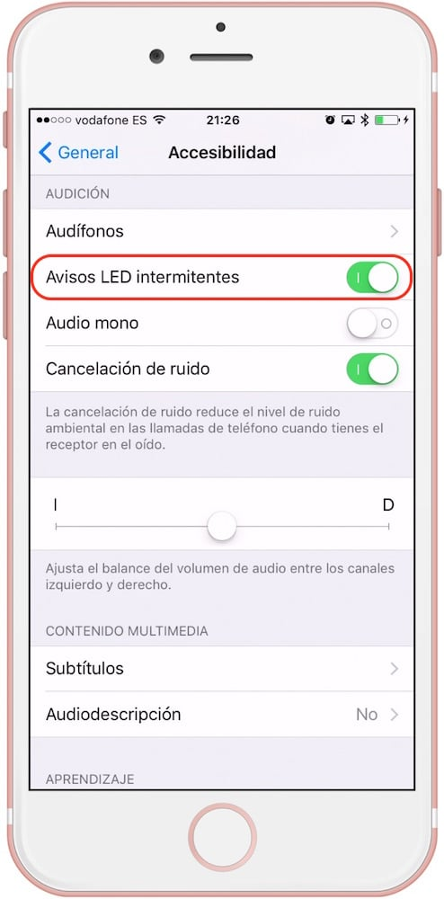 iPhone Ajustes Avisos LED Flash