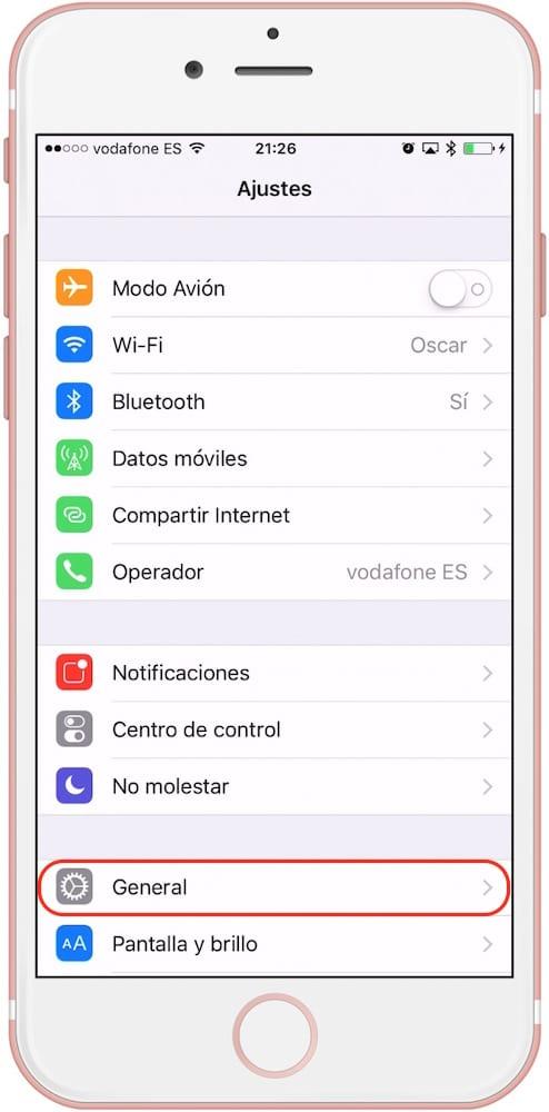 iPhone Ajustes General