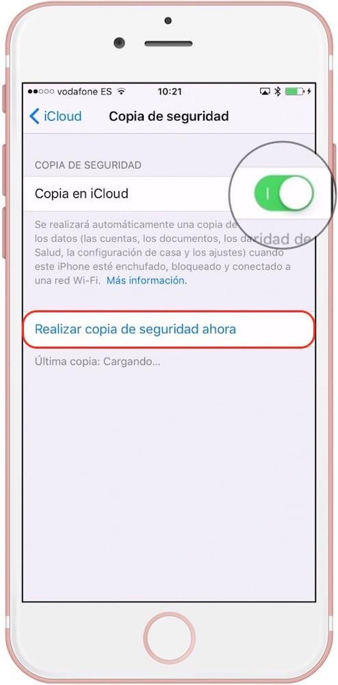 Activar Copia Seguridad iCloud