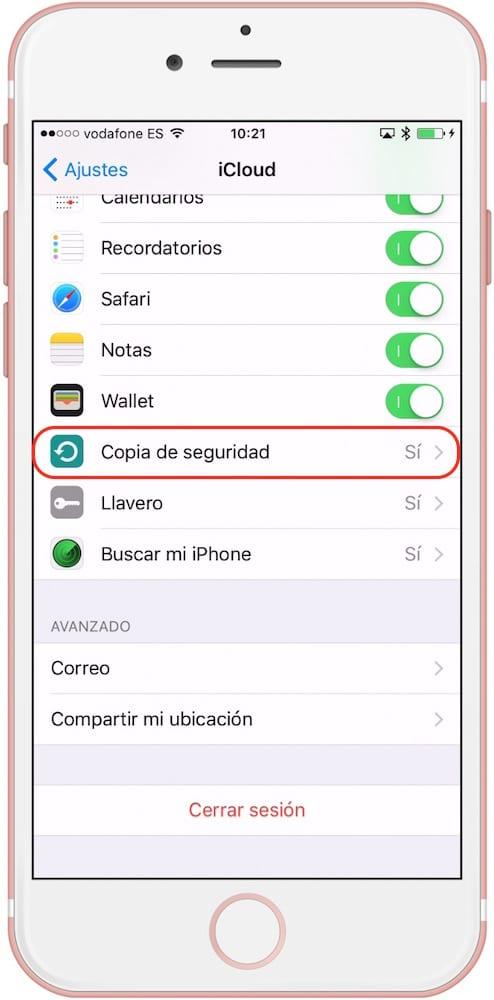 iCloud Copia de Seguridad