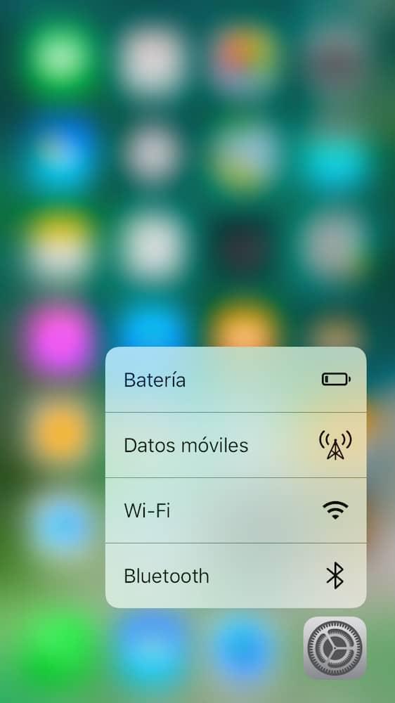 iOS 10 3D Touch Ajustes