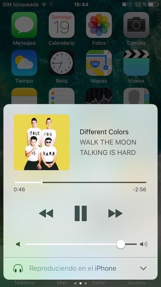 iOS 10 Centro de Control Musica