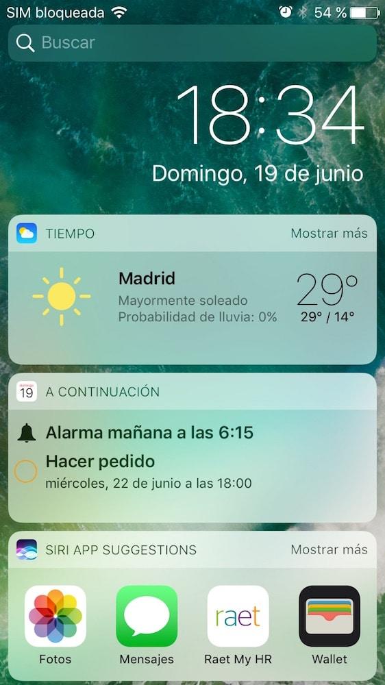 iOS 10 Pantalla bloqueo