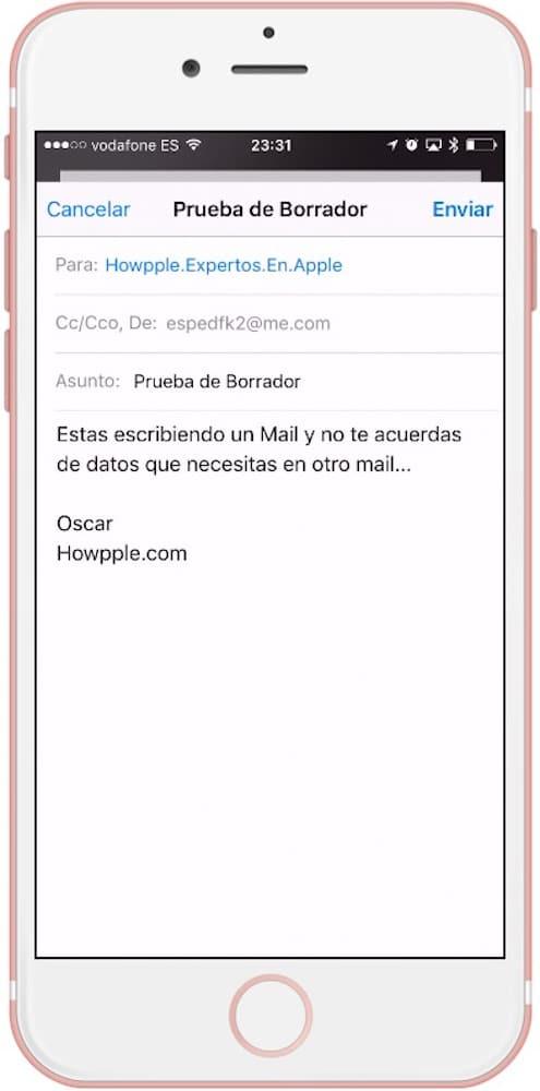 Acceder Borrador Mail iPhone