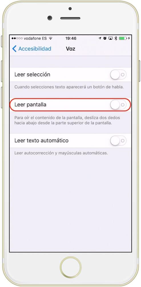 iOS leer pantalla