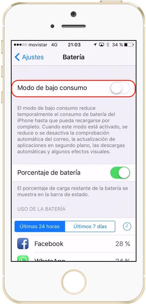 iOS Ajustes Batería Modo bajo consumo-Howpple