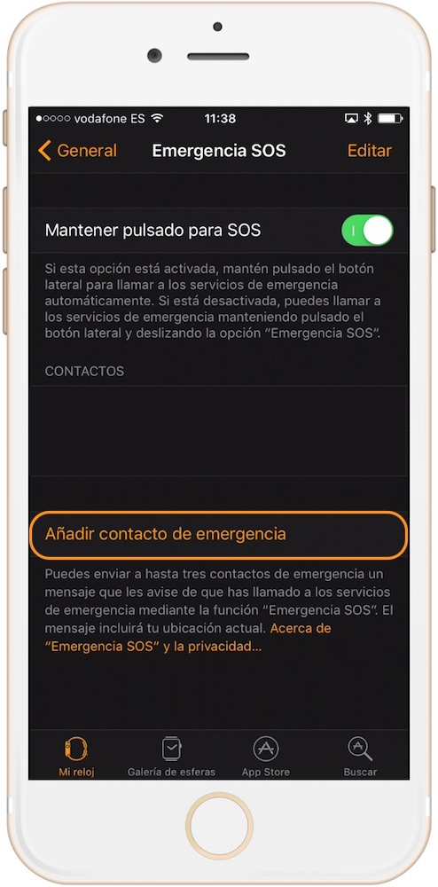 contactos llamada de emergencia Apple Watch-howpple
