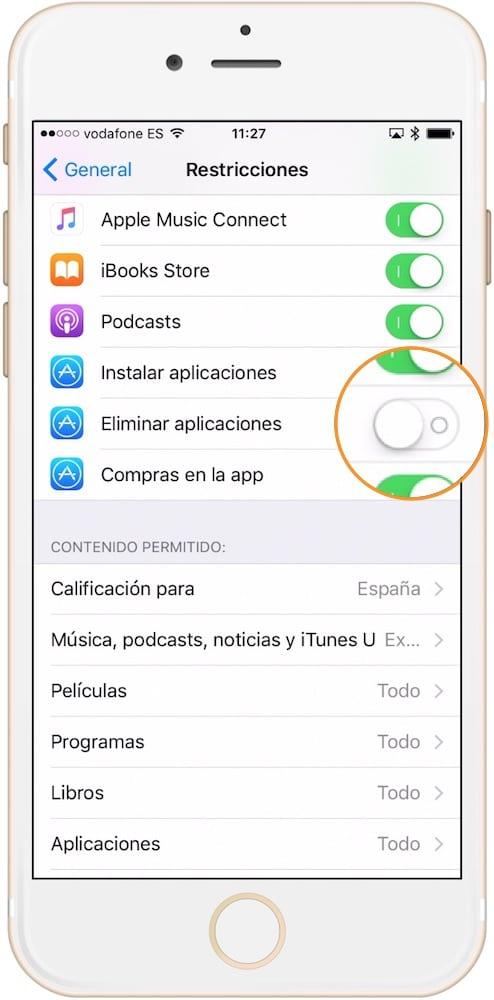 Evitar que alguien borre aplicaciones iOS desactivar eliminar-Howpple