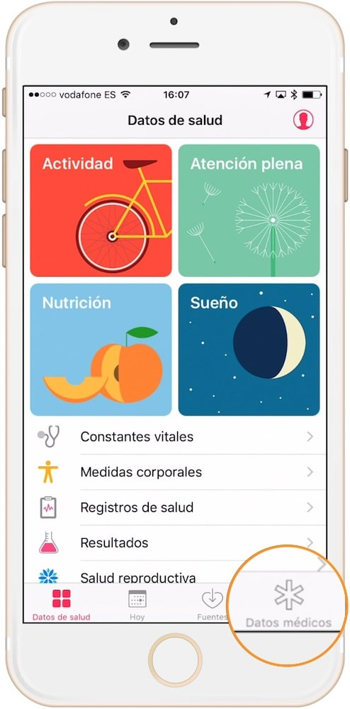 Trucos iPhone 7 y iOS 10 Datos medicos-Howpple