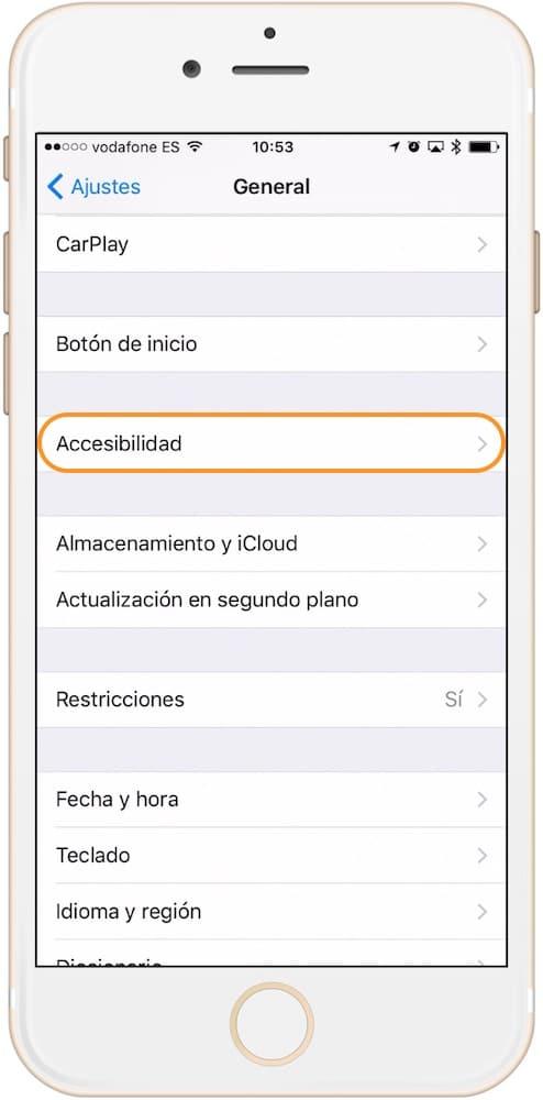 Como aumentar el tamaño de la letra en iPhone Opciones de Accesibilidad