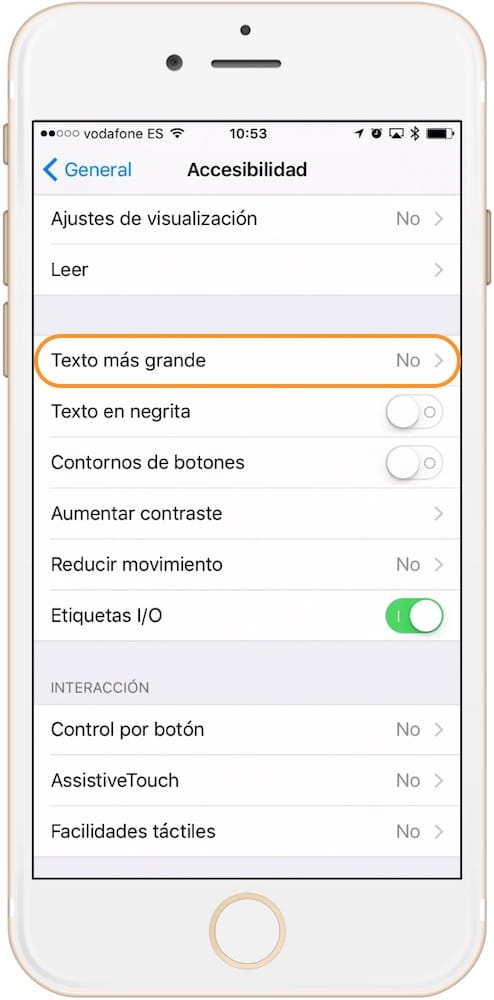 Como aumentar el tamaño de la letra en iPhone Texto más grande