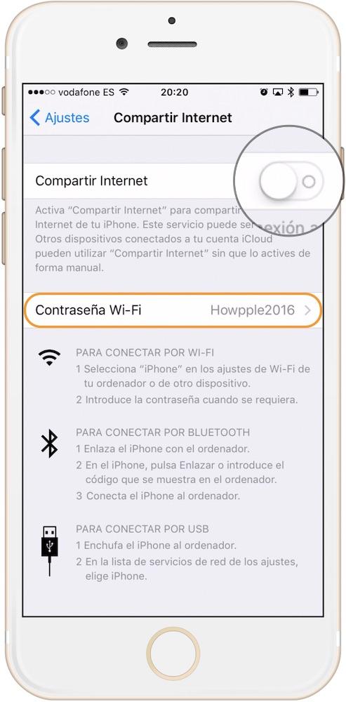 Personalizar y activar compartir la conexión de datos en iPhone