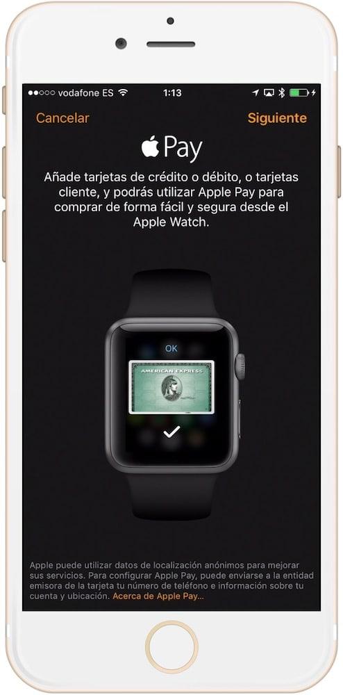 Como configurar Apple Pay en el Apple Watch comenzar Tarjeta