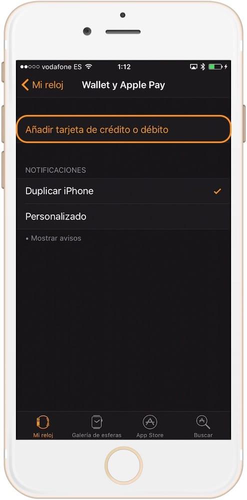 Como configurar Apple Pay en el Apple Watch añadir tarjeta