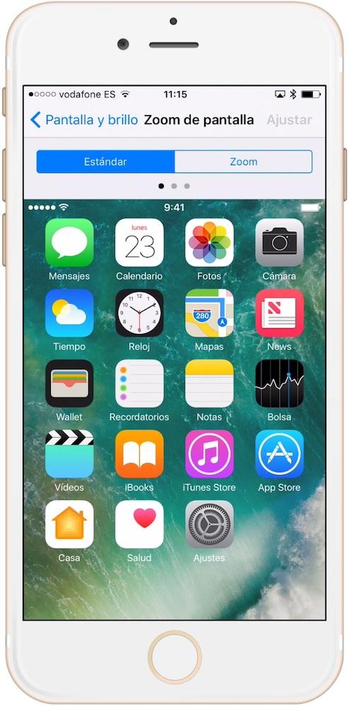 Aprende como hacer los iconos más grandes en iPhone visión Estandar
